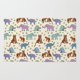 Daisies, Tigers and Elephants Rug