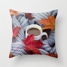 autumn coffee Throw Pillow