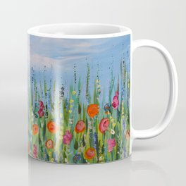 Summer Wildflowers, Landscape Art with Flowers Coffee Mug