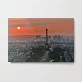 Iconic Eiffel Tower Paris France at Sunset Metal Print