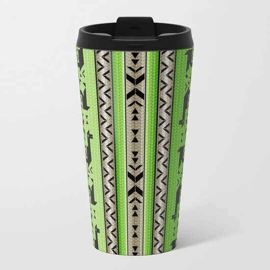 Llamas_Green and WarmGray Metal Travel Mug