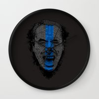 bukowski Wall Clocks featuring Bukowski | Bluebird by Gabriel Mihai | SnakeBishop