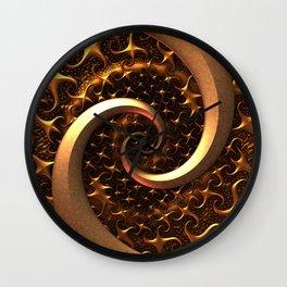 Golden Spirals Wall Clock