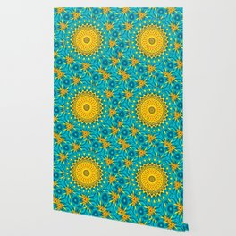 Birds of Paradise Circular Geometric Blended Floral Pattern \\ Yellow Green Blue Teal Color Scheme Wallpaper