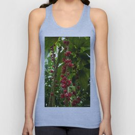 Red Flowers with Green leaf background Unisex Tank Top