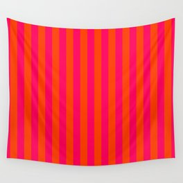 Orange Pop and Hot Neon Pink Vertical Stripes Wall Tapestry
