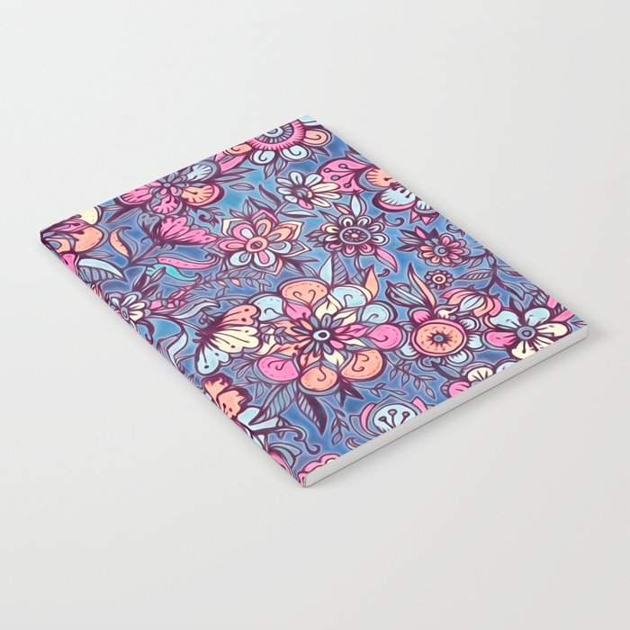 Sweet Spring Floral - soft indigo & candy pastels Notebook