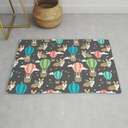 Corgis in Hot Air Balloons - cute dog design Rug