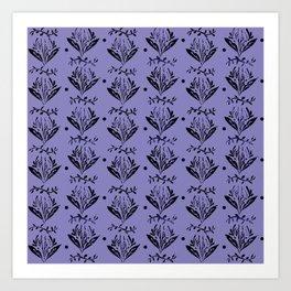 Cala Lily stamp pattern - in purple Art Print