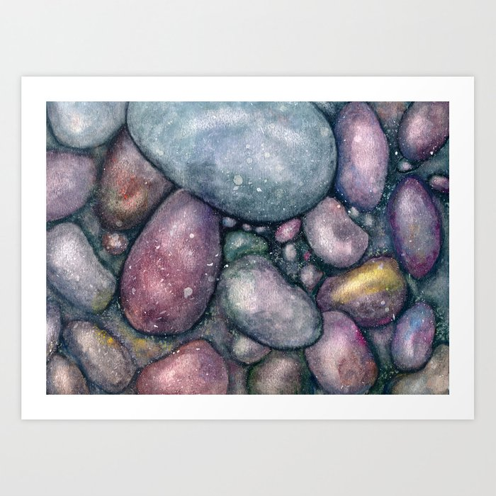 Rocks River Rocks Ocean Rocks Beach Wet Sand Original Painting Watercolor Blue Pink Art Print By Olga367art