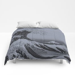 Silver Japanese Great Wave off Kanagawa by Hokusai Comforters