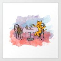 CAT TEA PARTY Art Print