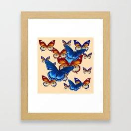 #2 MODERN ART DECORATIVE BLUE-BROWN  BUTTERFLIES Framed Art Print