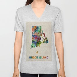Rhode Island Watercolor Map Unisex V-Neck