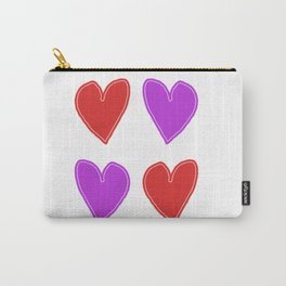Red and Purple Hearts - 4 hearts Carry-All Pouch