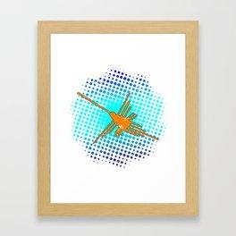 Distressed Nazca Lines Hummingbird On Gradient Blue Galaxy Framed Art Print