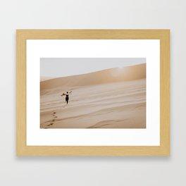 Free Spirit Running Through the Sand Dunes Framed Art Print
