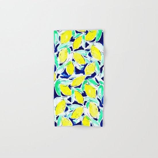 Bold Lemons Blue Hand & Bath Towel