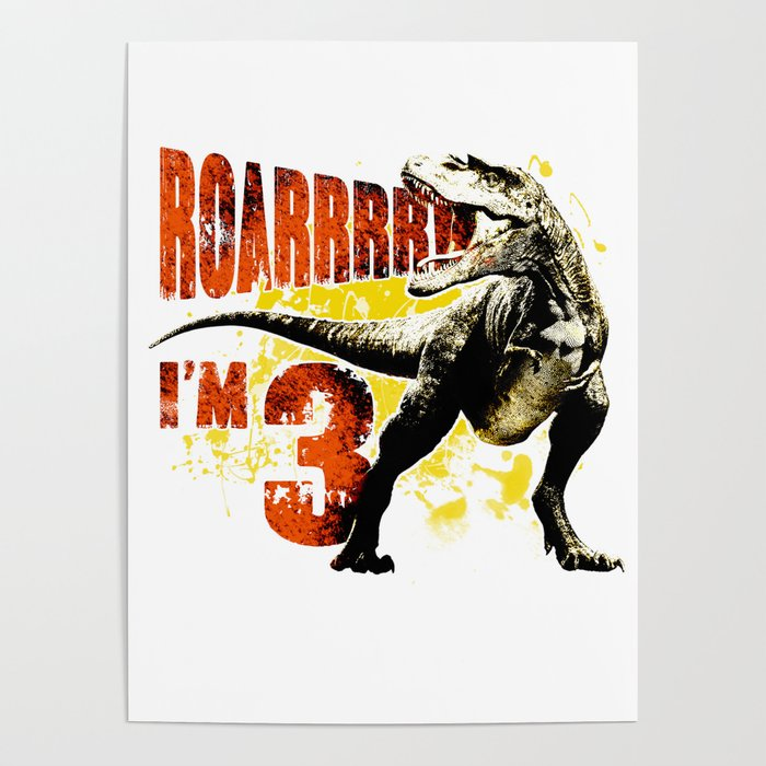 3rd Birthday Gift 3 Year Old Boys Dinosaurs Present Poster