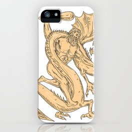 Hercules Fighting Dragon Drawing Color iPhone Case