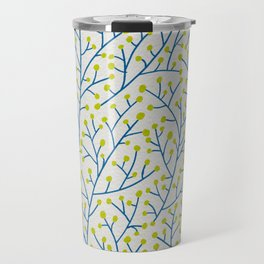 Berry Branches - Lime & Blue Travel Mug