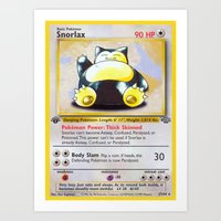 snorlax Art Prints featuring Snorlax Card by Neon Monsters