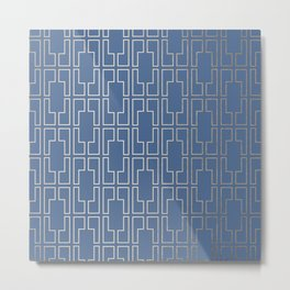 Simply Mid-Century in White Gold Sands and Aegean Blue Metal Print