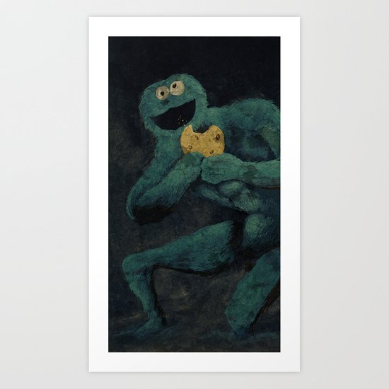 Monster Devouring His Cookie Art Print