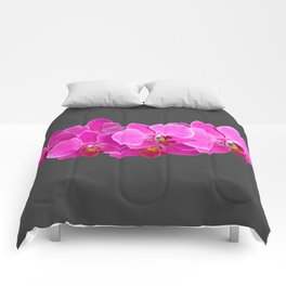 CHARCOAL GREY PURPLE PINK ORCHIDS Comforters