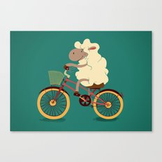 Lamb on the bike Canvas Print