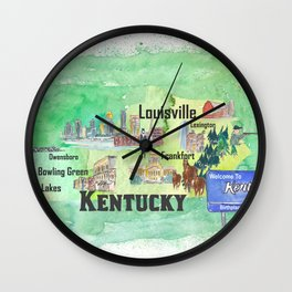 Kentucky USA State Illustrated Travel Poster Favorite Tourist Map Wall Clock