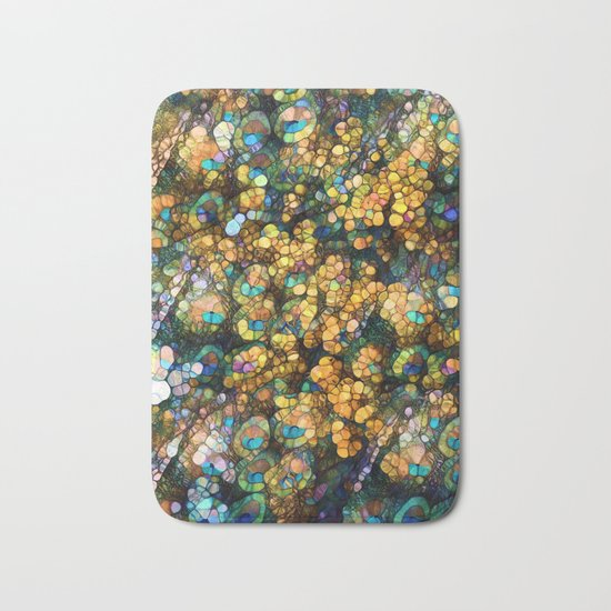 Peacock Rainbow Glitter Bath Mat