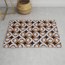 Retro Circles Brown Silver Vintage 70's Style Pattern Design Rug
