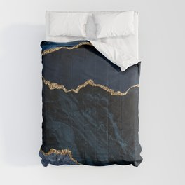 Beautiful Sapphire And Gold Marble Design Comforters