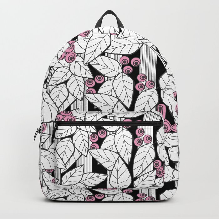 Pink berries on black and white striped background . Backpack