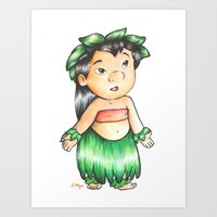 lilo and stitch Art Prints featuring Lilo from Lilo & Stitch  by laura nye.