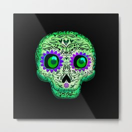 Green & Purple Skull on Black Metal Print