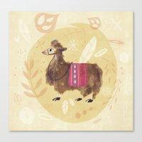 llama Canvas Prints featuring Llama by Juliana Cuervo