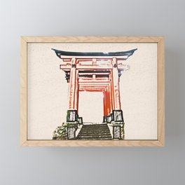 ArtWork Fushimi Inari Art Painting Kyoto Japan Framed Mini Art Print
