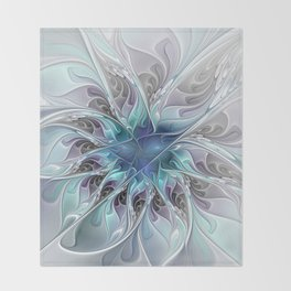 Flourish Abstract, Fantasy Flower Fractal Art Throw Blanket