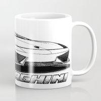 lamborghini Mugs featuring Lamborghini line drawing by JT Digital Art