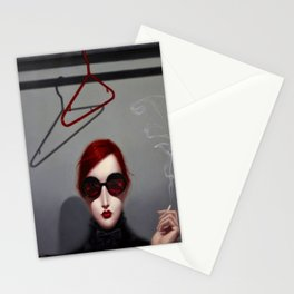 'The Wallflower Opus,' red-head smoking in the closet surreal portrat painting by Troy Brooks Stationery Cards