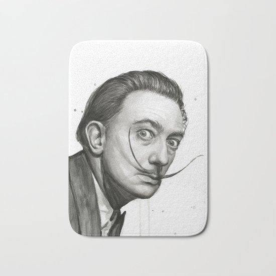 Salvador Dali Watercolor Portrait Bath Mat