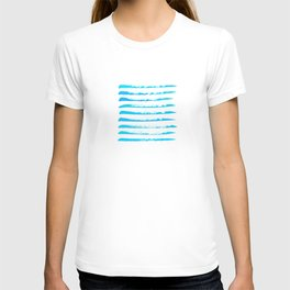 Turquoise blue stripes, hand painted rough texture T-shirt