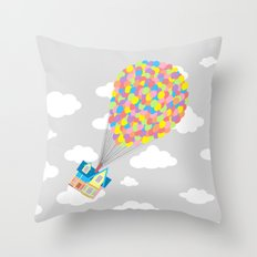 Up! in the Gray Clouds Throw Pillow
