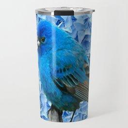 BLUE BIRD & BLUE HYDRANGEAS GREY ART Travel Mug