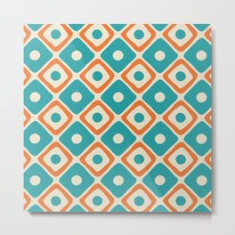 Mid Century Modern Diamond Dot Pattern 419 Turquoise Orange and Beige Metal Print