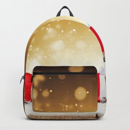 christmas gifts 4k xmas decorations New Year christmas wooden background christmas decorations golde Backpack