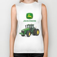 john green Biker Tanks featuring John Deere Green Tractor by rumahcreative