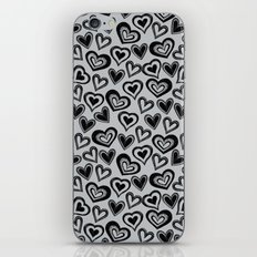 MESSY HEARTS: BLACK GRAY iPhone Skin